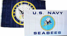 3x5 3'x5' Wholesale Combo Set U.S. Navy Crest & Navy Seabees White Flags Flag