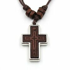 Olive Wood Russian Orthodox Cross Pendant Hemp Cord Necklace For Men Wowen