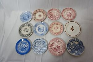 ANTIQUE STAFFORDSHIRE CUP PLATES TRANSFER WARE FLOW BLUE 4in LOT OF 12 1800s b