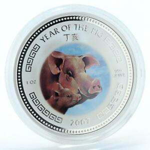 Cambodia 3000 riels Year Pig Lunar Be attentive to your family silver coin 2007
