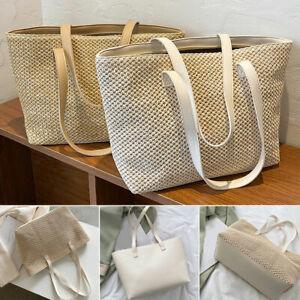 Women Boho Woven Handbag Summer Beach Tote Straw Bag Rattan Shoulder Bags New