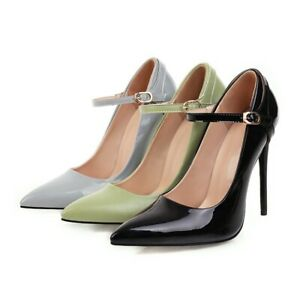 Ladies Patent Leather High Heels Pointy Toe Sexy Stiletto Pumps Women Shoe Party