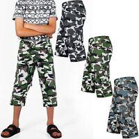 BOYS 3/4 CAMOUFLAGE SHORTS KIDS FULLY ELASTICATED GIRLS ARMY COMBAT CARGO PANTS