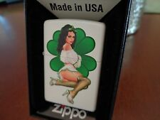 PINUP GIRL SEXY LUCKY PATTY FOUR LEAF CLOVER ZIPPO LIGHTER  MINT IN BOX GARVEY