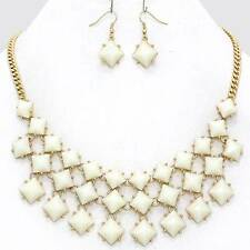Chunky Bead Bib Cream Gold Chain Necklace Earring Set Fashion Costume Jewelry