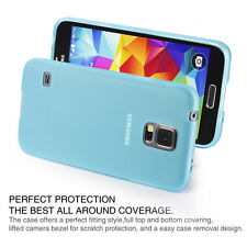 Matte Back Blue Flexible TPU Case for Samsung Galaxy S5 - Ultra Thin 2014 NEW