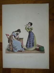 BELLE GRAVURE COULEUR CARICATURE COSTUME FEMME MODE FEMINISTE FEMINICIDE 1820