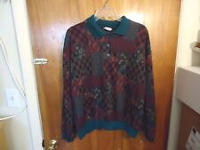 Womens Donn Kenny Size XL Multi Color Geometric Long Sleeve Sweater Top