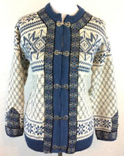 #S9 Dale Of Norway Sz 38 M 100% Wool Blue Nordic Cardigan Sweater Metal Clasps