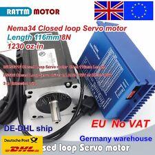 【Uk】8N.m Nema34 Hybrid Closed Loop Servo Motor 116mm 6A+HSS86 2 Phase Driver CNC