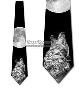 Wolf Howling at the Moon Tie Men's Animal Wolves Neck Ties Brand New