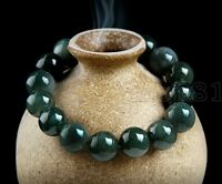 Handmade 12MM Natural Beautiful Green Jadeite Jade Round Beads Bangle Bracelet