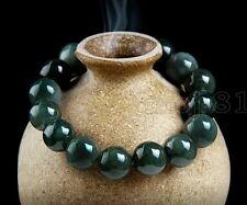 Jade Round Beads Bangle Bracelet Handmade 12Mm Natural Beautiful Green Jadeite