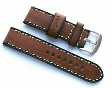 24mm Brown Wood Grain Leather Replacement Watch Band For Invicta 24 or Big Watch