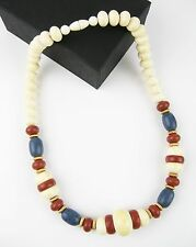 "Vintage Celluloid Chunky Large Bead Choker Necklace 22"" Ivory, Blue, Brown 1980s"