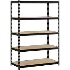 "Muscle Rack 48""W x 24""D x 72""H 5-Shelf Steel Shelving, Black, Garage Storage NEW"