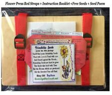 NEW BIRCH WOOD FLOWER PRESS RED STRAPS + POEMS + INSTRUCTION BOOKLET +SEEDS #1