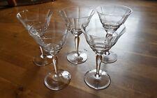 5 alte Weingläser * Streifen-Muster und Wellen * Art Deco * 20er/30 Jahre