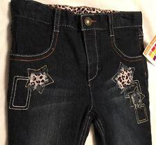 New Healtex Girls SKINNY DENIM CHEETAH STAR Jeans: Sz 4T Dark Denim
