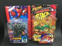 Marvel Spider-man GREEN GOBLIN w/ GLIDER & SANDMAN Action Figure Lot Toy biz MOC