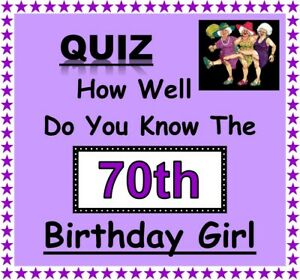 70/75/80/85th BIRTHDAY GIRL Fun Family Quiz Game - 'How Well Do You Know Her'?