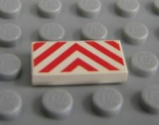 LEGO WHITE TILE 1x2 with RED DANGER CHEVRONS Pattern 6479 6542 6581 6982 6346