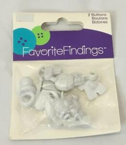 """NEW Favorite Findings White Glue or Sew On Buttons 'It's A Boy!"""" 7/Package"""
