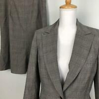Anne Klein Wool Blend Skirt Suit Womens 8 Blazer 29W Glen Plaid Career Work