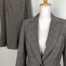 Anne Klein Wool Blend Skirt Suit Womens 8 Blazer 29W Glen Plaid Career Work