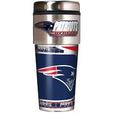 New England Patriots NFL Stainless Steel 16oz Travel Tumbler Mug with Emblem