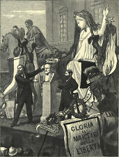 ROME - FUNERAL ORATION OVER THE BUST OF MAZZINI 1872  VICTORIAN ENGRAVING