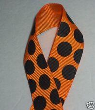 "Orange w/Jumbo Black Dot Ribbon, 7/8"" Crafts Tigers Cheer Hair Bows Halloween 2y"