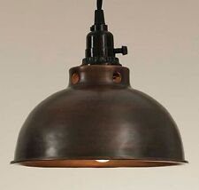 Unique Rustic Industrial Dome Pendant Lamp - Aged Copper Finish Twisted Wire