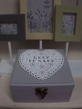 Shabby Chic Rustic Decorative Storage  Wooden Box- Keep It Safe- Grey/White