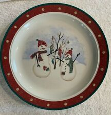 "Royal Seasons Stoneware Snowmen RN2 Dinner Plate 10.25"" Yellow Dot Christmas"