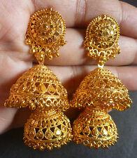 22K Gold Plated 5cm Long Wedding Party wear 2 Steps Jhumki Jhumka Earrings Set.