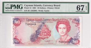 1991 Cayman Islands 10 Dollars P-13 PMG 67 EPQ Superb Gem UNC