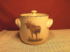 "Home and Garden Party Moose Design Stoneware Bean Pot 7 1/4"" Imperfect"
