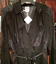 NWT $1895 HAUTE HIPPIE S XS 0 BLACK SUEDE LEATHER & LACE TRENCH COAT DRESS