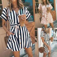 Women's V-neck Stripe Strappy Short Sleeve Mini Dress Summer Beach Holiday Dress