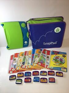 Original Leapfrog LeapPad Learning System Green/Blue W/ 11 Books Cartridges Case