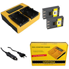 2x Batteria Patona + caricabatteria rapido DUAL LCD per Canon PowerShot S100