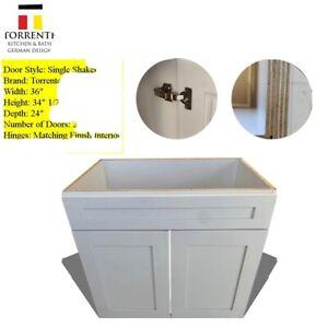 """36x24""""  White Shaker Wood Bathroom Vanity Double Door RTA"""