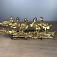 Vintage Brass Mallard Duck On Log Wall Sculpture Hanging Decor