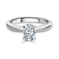 White Gold Oval 2.00 Ct Diamond 18 K Solitaire Engagement Ring Size M N L O