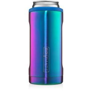 Brumate Hopsulator Slim Can Cooler Tumbler 12 oz Drink Holder Rainbow Titanium