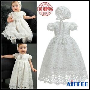 Baby Girl 2Pcs Cotton Lace Christening Baptism Gown Lace Dress + Bonnet Size0-2Y