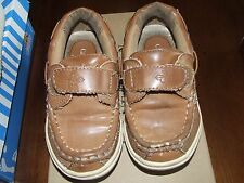 bf75d33db8e Cole Haan Sz 8 Lil Cail Boat Shoes Brown Tan Leather Loafers Velcro Boy  ChurchEH