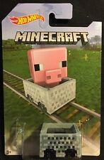 Hot Wheels Minecraft Pink Pig Minecart 1:64 Diecast New 2016