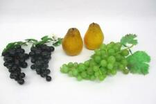 3 VINTAGE Realistic Looking Soft PVC Grape Clusters And Two Plastic Pears